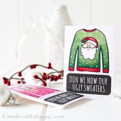 Fun Christmas gift card of cash envelopes using Simon Says Stamp Ugly Sweater set. For more please visit http://limedoodledesign.com/giftcardenvelopes - Debby Hughes - Lime Doodle Design #christmas #giftcard #envelope #ugly #sweater #santa #rudolph