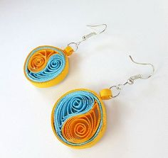 Dark Yellow and Light Blue Paper Quilling Earrings by PaintASmile