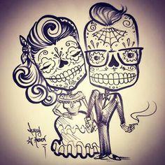 My babe and I Compass Tattoo, Sugar Skull Girl, Sugar Skulls, Day Of The Dead Art, Geniale Tattoos, Sugar Skull Tattoos, Chicano Art, Mexican Folk Art, Couple Tattoos