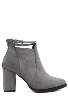 Suede Ankle Strap Chunky Heel Ankle Boots GRAY: Boots | ZAFUL