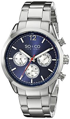 Men's Wrist Watches - SOCO New York Mens 50043 Monticello Quartz GMT Day and Date Stainless Steel Watch -- Click on the image for additional details. (This is an Amazon affiliate link)