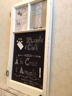 Eco friendly magnet board up cycled antique window chalk metal covered with fabric for organization office family women dry erase board Antique Windows, Dry Erase Board, Office Organization, Eco Friendly, Upcycle, Shabby, Boards, Decoration, Antiques