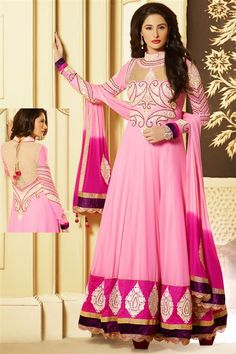Buy Latest Party Wear Designer Extra Long Anarkali Dress Materials Of Bollywood Actress Naragis Fakari, Embroidered Anarkali Suits Online from online sarees store, mishreesaree.com at best prices.
