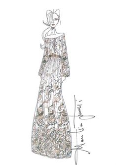 Fashion illustration - Salvatore Ferragamo dress drawing; fashion design sketch