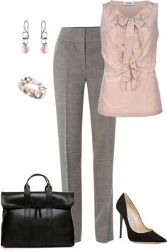 Grey n' light pink! Cute work outfit by Fullgot