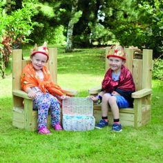 Delight aspiring kings and queens, princes and princesses. Bring the magic of fairytales to your setting. The Outdoor Wooden Thrones are a great resource for story telling and enhancing imagination. Who do the chairs belong to? How did they get here? Made from Scandinavian Redwood. Childrens Castle, Castle Playhouse, Play Market, Mini Barn, Prince And Princess, Outdoor Play, Story Time, Play Houses, Playground