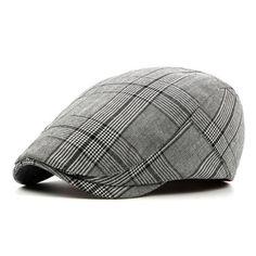 3074f13ab8ee9 Men s Vintage Retro Plaid Beret Hat - Coffee