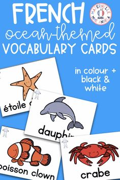 It's easy to teach and review French Ocean vocabulary using this set of word wall cards! With cards in both colour and black Kindergarten Classroom, Kindergarten Activities, Oral Communication Skills, Vocabulary Cards, Second Language, It's Easy, Spelling, Students, Ocean