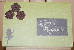 Carte anniversaire, coloris vert et marron