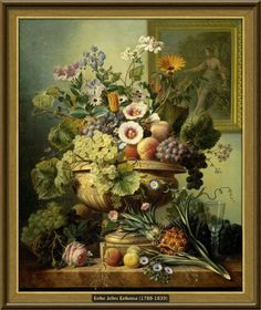 Eelke Jelles Eelkema - Stilleven met bloemen en vruchten (1815-1830) [76cmx90,5cm - Rijksmuseum Amsterdam]