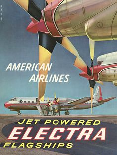 Walter Bomar, American Airlines – Jet Powered Electra Flagships, Lithograph, ca. 1959  (Zeit Online)