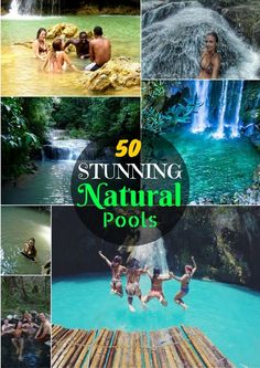 Do you prefer to ditch the conventional swimming pools and are guilty of spending HOURS swimming natural pools and swimming holes? If yes, you're gonna LOVE this list of 50 beautiful natural pools!  Waterfalls, hot springs, lakes, lagoons, etc, you name it, we've got it!  #NaturalPools #Lagoon #Lagoons #Lakes