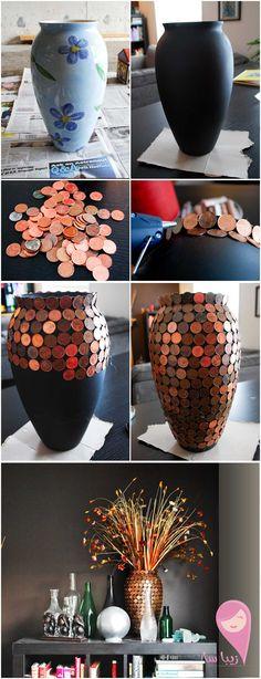 DIY Vase mit Münzen