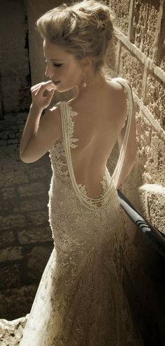 Galia Lahav 's Backless Wedding Gown - one of many Seriously HAWT and Unbelievable Backless Wedding Dresses 2014 Wedding Dresses 2014, Designer Wedding Dresses, Mod Wedding, Dream Wedding, Lace Wedding, Wedding Ideas, Wedding Blog, Perfect Wedding, Trendy Wedding