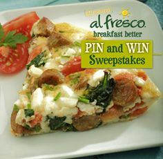 al fresco ® spinach, chive & feta egg white frittata with country style chicken sausage Low Carb Recipes, Cooking Recipes, Healthy Recipes, Brunch Recipes, Breakfast Recipes, Chicken Breakfast, Al Fresco Recipe, Great Recipes, Favorite Recipes