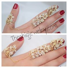 Crystal 2 Finger Statement Handpiece | The Chiq Jewelry