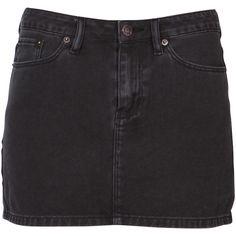Ksubi Jett Denim Skirt (€81) ❤ liked on Polyvore featuring skirts, bottoms, black, polleras, denim skirt, knee length denim skirt and ksubi