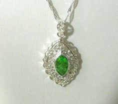 White Gold Plated Necklace Silver Green Gemstone 925  Pendant Womens Girls  #Unbranded #Pendantnecklace