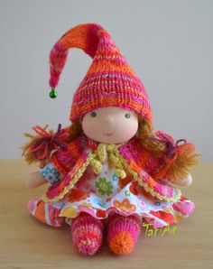 RESERVED Waldorf inspired doll 8 inch. Flower doll. by tatiartlv, $120.00