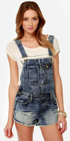 Distressed Denim Overalls #festival #style