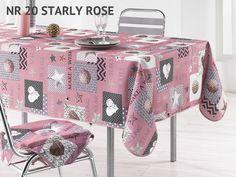 Różowe obrusy na stół do kuchni z motywem świątecznym