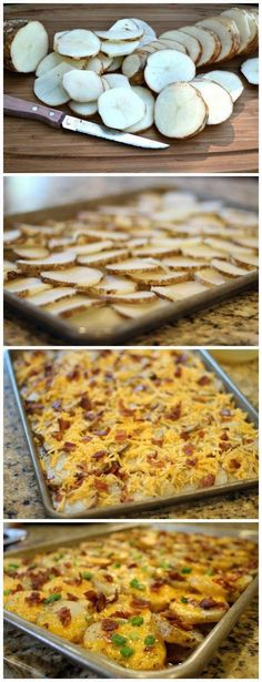 Cheesy bacon potato bites- Looks like what I used to serve at T. Fridays back in the Yummy! Cheesy bacon potato bites- Looks like what I used to serve… Think Food, I Love Food, Bacon Potato, Loaded Potato, Potato Nachos, Cheesy Potato Wedges, Potato Casserole, Bacon Cheese Potatoes, Baked Potato Slices