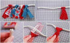 bandeirolas com aproveitamento de tiras de tecido.
