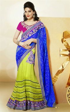 Picture of Sparkling Blue and Lime Green Wedding Lehenga Saree