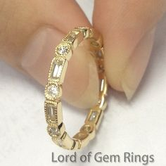Solid 14k Yellow Gold,width:2.7mm, Weight for size 7#,3.1grams, Ring can be resized  0.77ct Baguette/Round Cut SI Natural Diamonds  Bezel Set  Market