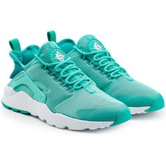 Nike Huarache Ultra Sneakers ($81) ❤ liked on Polyvore featuring shoes, sneakers, turquoise, slip-on sneakers, nike shoes, lace up sneakers, laced up shoes and oversized shoes