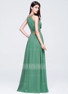 A-Line/Princess Scoop Neck Floor-Length Chiffon Prom Dress With Ruffle Beading Appliques Lace Sequins (018070360) - JJsHouse
