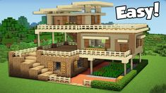 Minecraft: how to build a large starter house tutorial ( Minecraft Wooden House, Minecraft Starter House, Casa Medieval Minecraft, Video Minecraft, Minecraft World, Modern Minecraft Houses, Minecraft Farm, Skins Minecraft, Minecraft House Tutorials