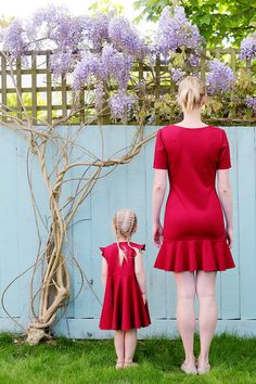 Mother and Daughter Matching Dress Set Red