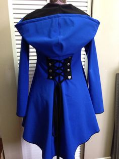 Tardis Blue corset laced hoodie red riding hood raincoat pixie steampunk fairy festival clothing