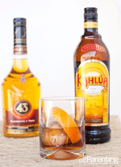 Ingredients: ounces gold rum 1 ounce Kahlua ounce Licor 43 Optional: 2 dashes Bittermens Xocolatl Mole bitters Orange peel for garnish Cocktail Shots, Cocktails, Cocktail Recipes, Kahlua Drinks, Alcoholic Drinks, Beverages, Rum, Bodybuilding Diet Plan, Hot Sauce Bottles