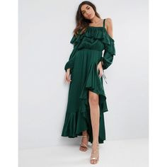 ASOS Cold Shoulder Ruffle Maxi Dress (6,120 PHP) ❤ liked on Polyvore featuring dresses, green, sleeve maxi dress, prom dresses, ruffle maxi dress, party dresses and ruffle sleeve dress