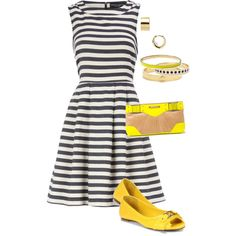 Grey and Yellow, created by beth-corliss-kraetsch on Polyvore    #stripes #contrast #women clothes