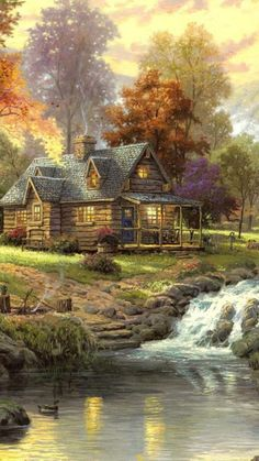 1080x1920 Wallpaper landscape, painting, art, house, forest, river, animals