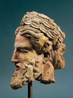 Polychrome terracotta head of Zeus - from Etruscan civilization, circa 5th c. BC, found Orvieto - at the Musem of Claudio Faina
