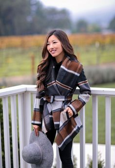 plaid belted wrap winter jacket + gray wool hat // fall in napa valley by extra petite blog