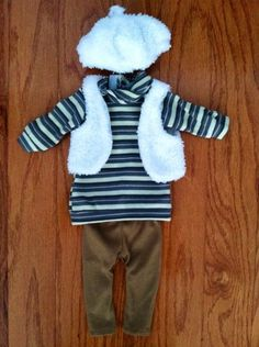 """18"""" Doll Outfit Fits American Girl Doll 4 Pc New Faux Fur Vest Hat Turtleneck + HUGE STORE MARKDOWNS!"""