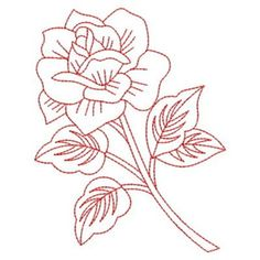Redwork Roses Embroidery Design