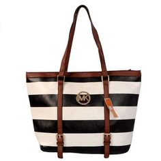 Cheap Michael Kors Jet Set Striped Travel Large Black White Totes Clearance