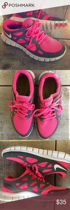 Nike Free Run 2.0 Running/Training Shoes Awesome pair of Nike Frees! Size  9, fit TTS. Bright neon pink & gray colors - very colorful. Compatible with  Nike+ ...