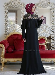 Black - Fully Lined - Muslim Evening Dress Muslim Evening Dresses, Formal Dresses, Maxi Dresses, Pearl Dress, Hijab Fashion, Dresses Online, Abayas, Capes, Outfits