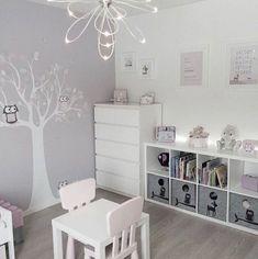 Girly room - Simple White Kids Bedroom with Craft Table and Storage kidsspace kidsroom big Baby Bedroom, Baby Room Decor, Girls Bedroom, Bedroom Decor, Bedroom Lighting, Bedroom Lamps, Bedroom Shelving, White Bedroom, Bedroom Simple