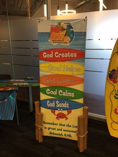 Love this idea! Add some Surf Shack fun to your Theme Banner! Cut pool noodles in various sizes. Cover with a brownish color bulletin board paper to give the look and feel of a pier! Surf's Up! cokesburyvbs.com