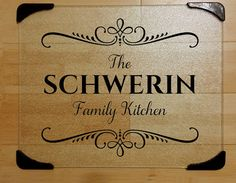 Etched or vinyl personalized cutting board. Visit Gingerly Stated's Etsy shop for more options including established dates. A perfect wedding gift! Large 12 in x 15 in Personalized Glass Cutting by GingerlyStated Diy Cutting Board, Glass Cutting Board, Vinyl Cutting, Vinyl Crafts, Vinyl Projects, Vinyl On Glass, Personalized Cutting Board, Dollar Tree Crafts, Diy Letters