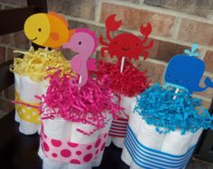 mermaid baby shower diaper cake | Diaper Cakes Under The Sea Theme-Se t of 4 Small Cakes- Baby Shower ...