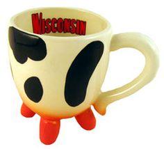 Wisconsin Badgers Cow Udder Shaped Ceramic Cheesehead Coffee Mug